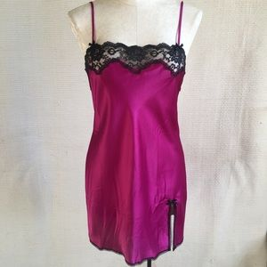 Victoria's Secret Pink Satin Black Lace Nightgown